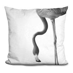 Flamingo2 Bw Decorative Accent Throw Pillow
