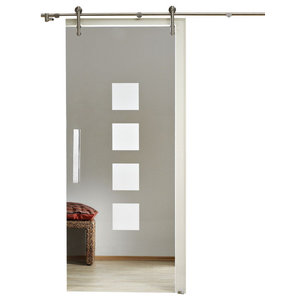 """Sliding Barn Glass Door/Transparent With Opaque Squares, 28""""x81"""", Right"""