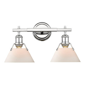 Golden Lighting 3306-BA2 CH-OP Orwell Bathroom Light, Chrome