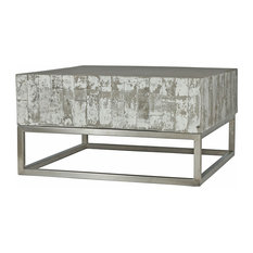 - Maximus Concrete Chrome Distressed Square Block Coffee Table - Coffee Tables
