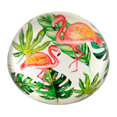 Glass Dome Flamingo Paper Weight