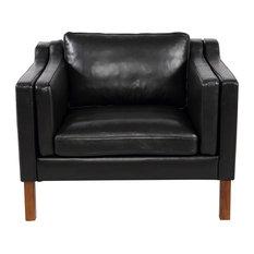 Kardiel Monroe Mid-Century Modern Vintage Chair, Black Aniline Leather
