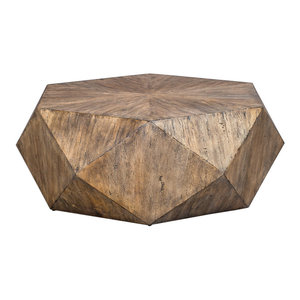 Faceted Large Round Light Wood Coffee Table   Modern Geometric Block Solid