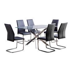 Leonardo Glass and Chrome Metal Dining Table and 6 Black Lorenzo Chairs