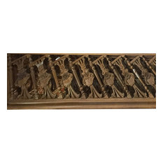 Mogul Interior - Indian Architectural Furniture Antique Rare Teak Carved Railing - Wall Accents