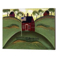 """""""Red School House Barn"""" Canvas Wall Art by Cheryl Bartley, 16""""x13"""""""
