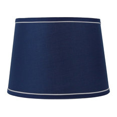 """14"""" French Drum With White Trim Lampshade, Navy Blue"""