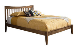 Edeline Mid-Century Modern Solid Walnut Wood Curvaceous Slatted Bed, Full