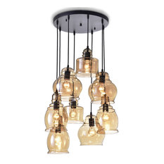 Crystal Chandeliers   Antique Black 8 Light Cognac Glass Cluster Pendant   Pendant  Lighting