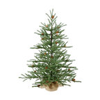 Vickerman Carmel Pine Tree With Pine Cones and Burlap Base, 30""