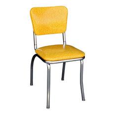 Chrome Kitchen Chair, Cracked Ice Yellow