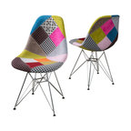Cassius Multi-Color Patchwork Fabric Chairs, Set of 2