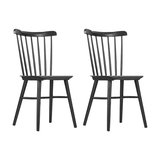Wood Kitchen Dining Chair, Black, Set of 2