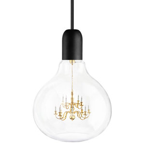 Large King Edison Pendant Lamp, Black