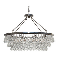 "32"" Glass Drop Crystal Chandelier, Brushed Nickel"