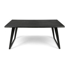 GDF Studio Simona Indoor 6-Seater Rectangular Acacia Wood Dining Table, Dark Gra
