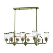 Livex Lighting Lawrenceville Light Linear Chandelier, Antique Brass