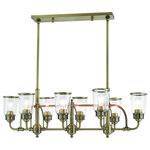 Livex Lighting - Livex Lighting Lawrenceville Light Linear Chandelier, Antique Brass - Reminiscent of turn of the 19th century lighting, the Lawrenceville collection features a retro industrial design with a antique brass finish and a clear seeded glass.