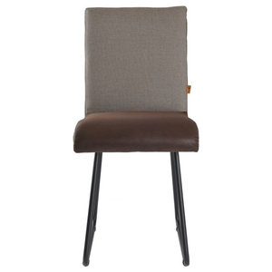 Faux Leather Seat Upholstered Chair, Light Brown