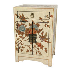 Superb Oriental Furniture   Ivory Peaceful Birds End Table Cabinet   Side Tables  And End Tables