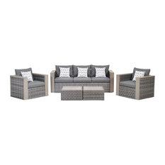 Cebu 5-Piece Wicker Patio Conversation Set Grey With Grey Cushions