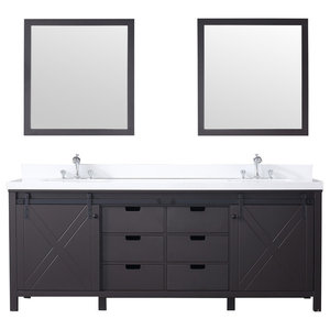 """84"""" Double Vanity Brown, White Quartz Top, White Square Sinks and 34"""" Mirrors"""
