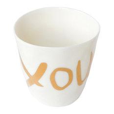 Porcelain Word Espresso Cups, Set of 4, You, You