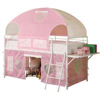 Emma Mason Signature Julian Youth Twin Tent Loft Bed, Pink and White COA0083