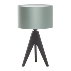 Artist Tripod Table Lamp With Black Base, Teal Cotton and Polyester Shade
