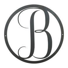 Large Monogram B Circle Door Hanger, 30 Raw Metal