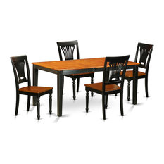 5-Piece Table Set Table And 4 Wooden Chairs Black/Cherry