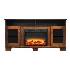 59.1x17.7x31.7 Savona Fireplace Mantel With Logs And Grate Insert - Walnut