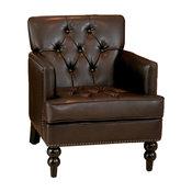 GDF Studio Medford Marble Brown Leather Club Chair