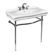 Renaissance White Console Lavatory and Polished Chrome Stand