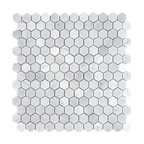 "12""x12"" Bianco White Carrara Hexagon Polished Marble Mosaic, Small Piece Sample"