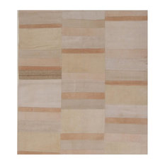 Kelim Abstract Stripe Handwoven Rug, Taupe and Light Peach, 140x155 cm