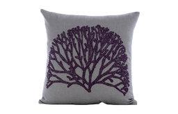 "Gray Cotton Linen 26""x26"" Beaded Violet Tree Euro Pillow Shams, Faraway Tree"
