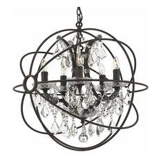 Spherical Orb Iron & Crystal 5 Light Chandelier Lighting Rust Finish Vintage