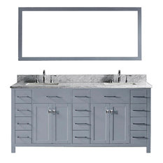 "Caroline Parkway 72"" Double Vanity, Gray, Without Faucet, Square, With Mirror"