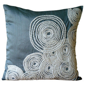 Blue Spiral Cushions Cover, 50x50 Silk Cushions Covers for Couch, Snow Centric