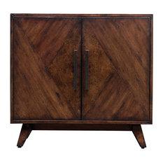 Elegant Geometric Pieced Burl Wood Accent Cabinet Midcentury Modern Table