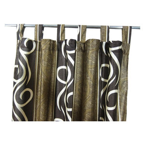 """Mogul Interior - Patterned Curtains Luxurious Drapes Drapery Window Panels Pair Tab Top, 48""""x108"""" - Curtains"""