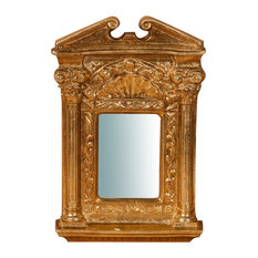 Roman Wooden Wall Mirror, Antique Gold Leaf, 21x32 cm