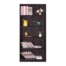 Spacious Dark Brown Finish Bookcase With 5 Open Shelves