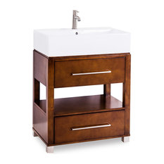 "Wells Vessel Top Vanity 28""x18-1/4""x36"" Chocolate"