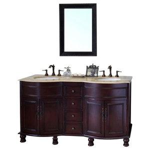 Bellaterra 62 Double Sink Vanity Wood Walnut Travertine