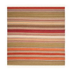 Safavieh Stripe Kilim Collection STK317 Rug, Green, 7' Square