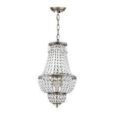 Amoret 4-Light Adjustable Beaded Chandelier in Clear and brass