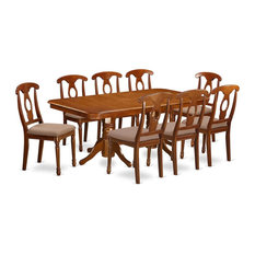 9-Piece Dining Room Set, Rectangular Table With Leaf and 8 Kitchen Chairs