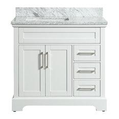 Henson White Bathroom Vanity With Marble Top, 37''